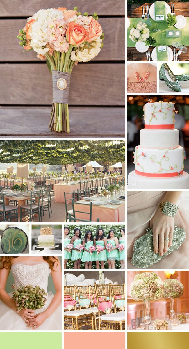 Mint Peach And Gold Wedding Ideas
