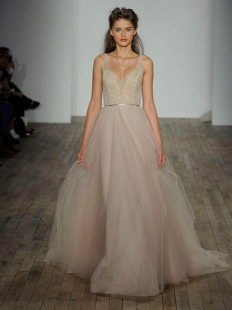 Lazaro Fall 2018 Wedding Dresses Blush Tulle Ball Gown