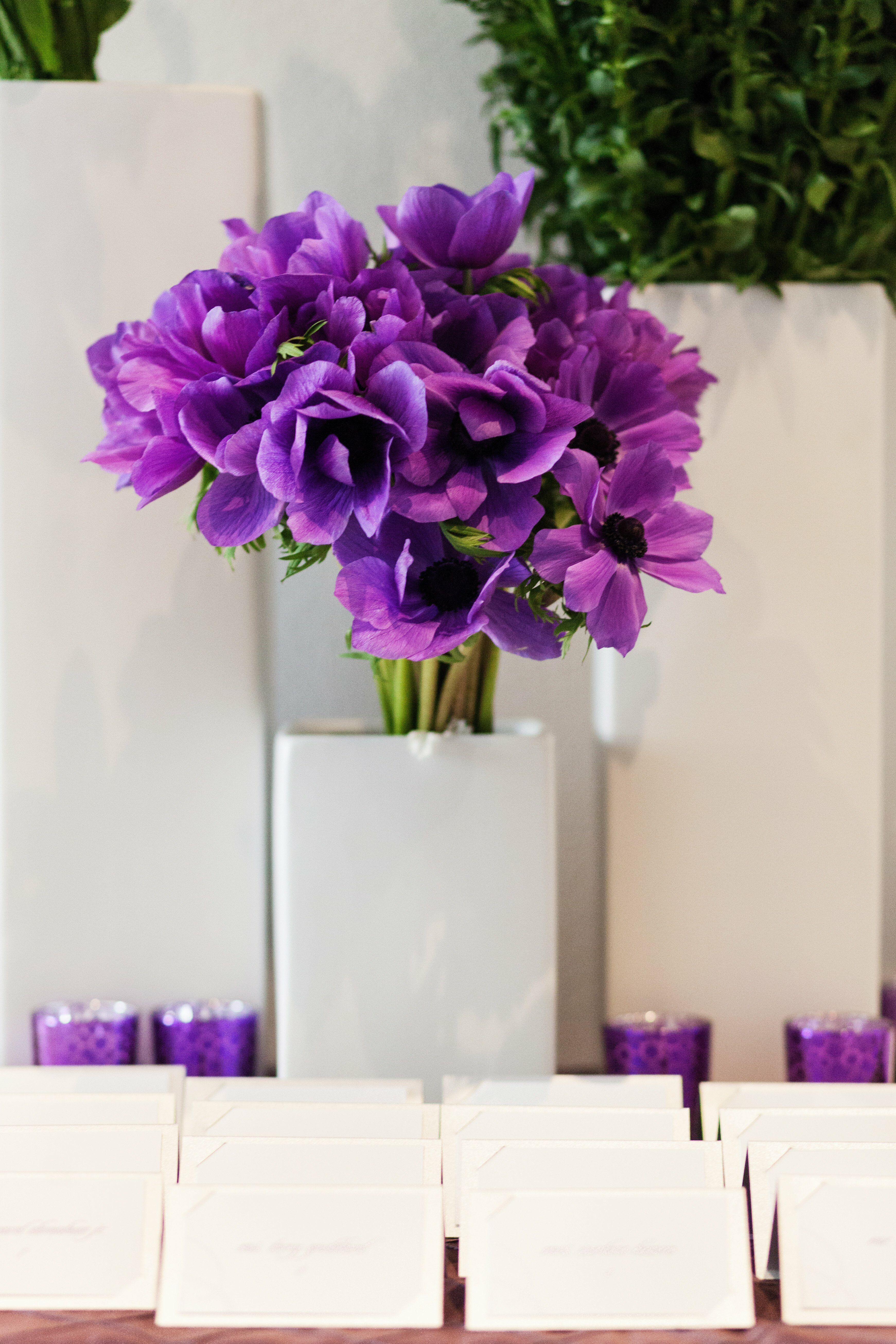 Purple lisianthus centerpiece