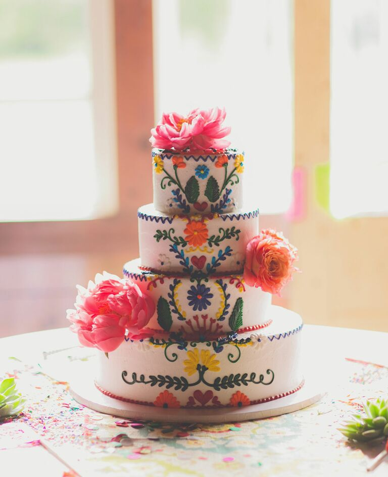 Colorful fiesta-themed wedding cake