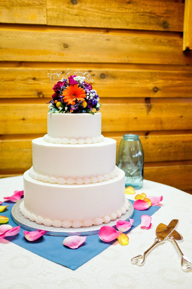 Simple Three Tier Wedding Cake with Bright Floral Cake Topper