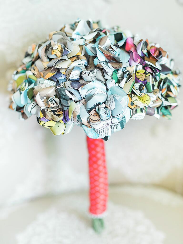 Unique wedding bouquet idea made out of comic book pages