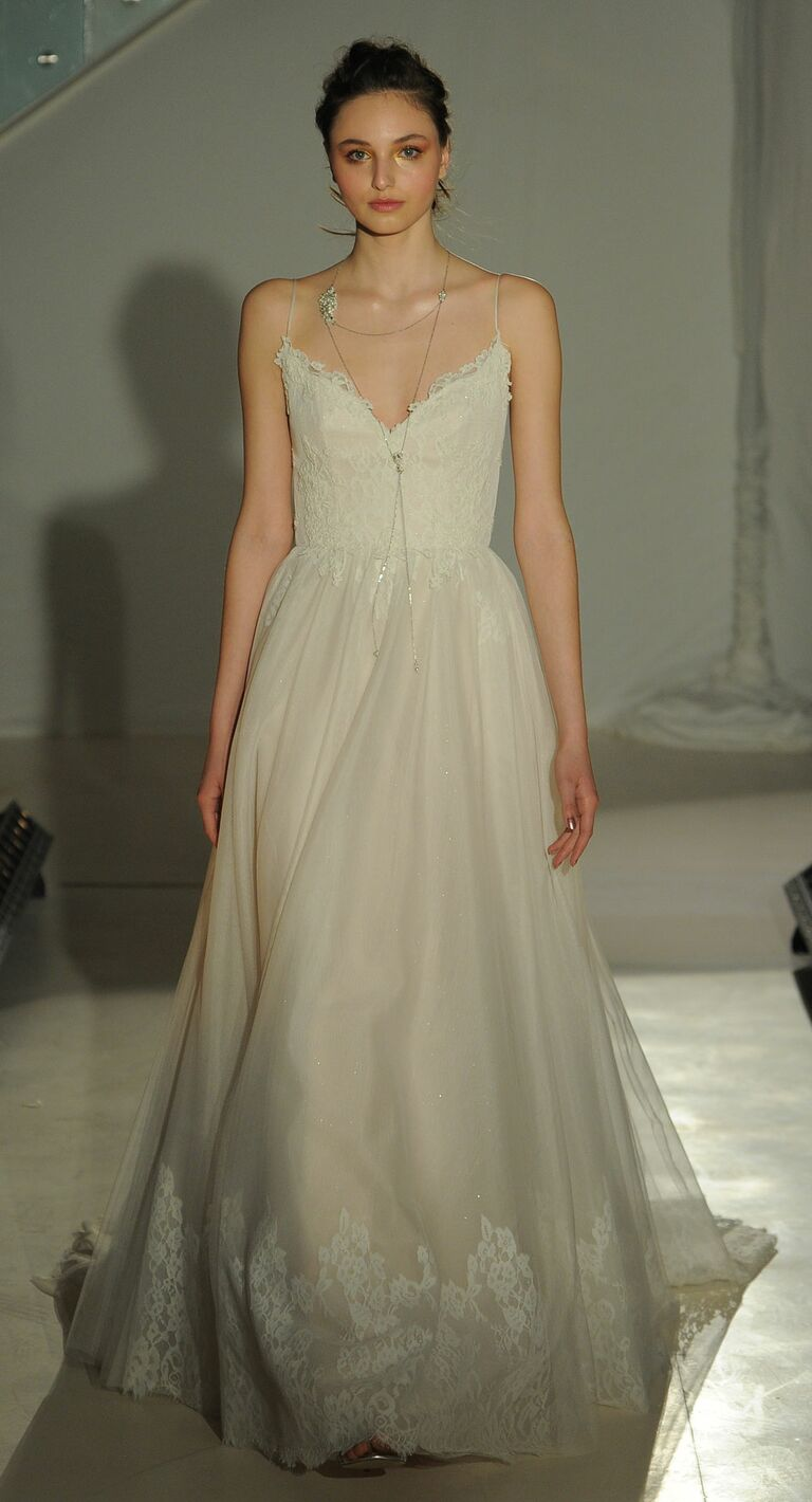 Alvina Valenta Spring 2017 Ivory Cashmere English Net And Lace A Line Wedding Dress With