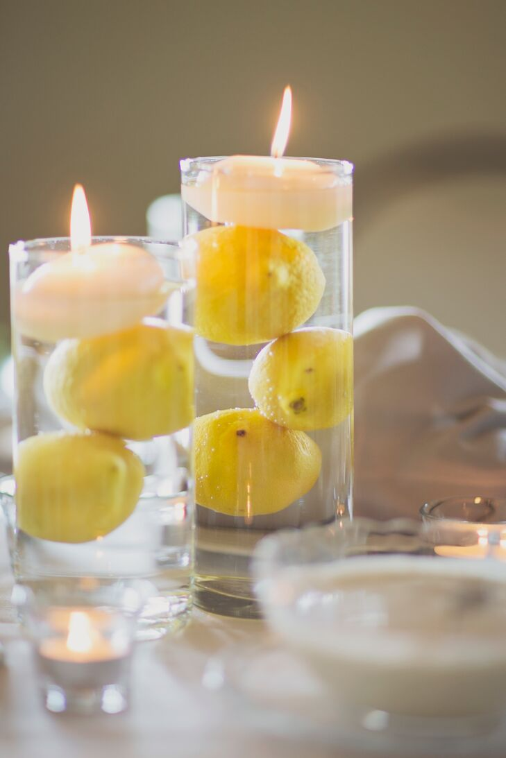 Lemon Filled Floating Candle Centerpieces
