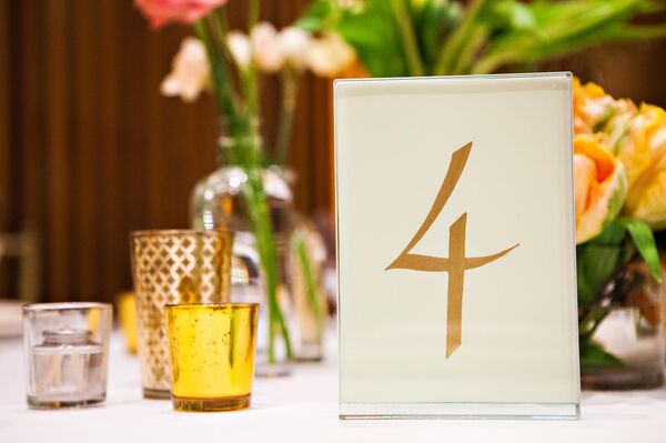 White and Gold Simple Table Numbers