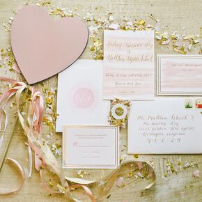 romantic pink ivory and gold invitations - Wedding Invitations Gold