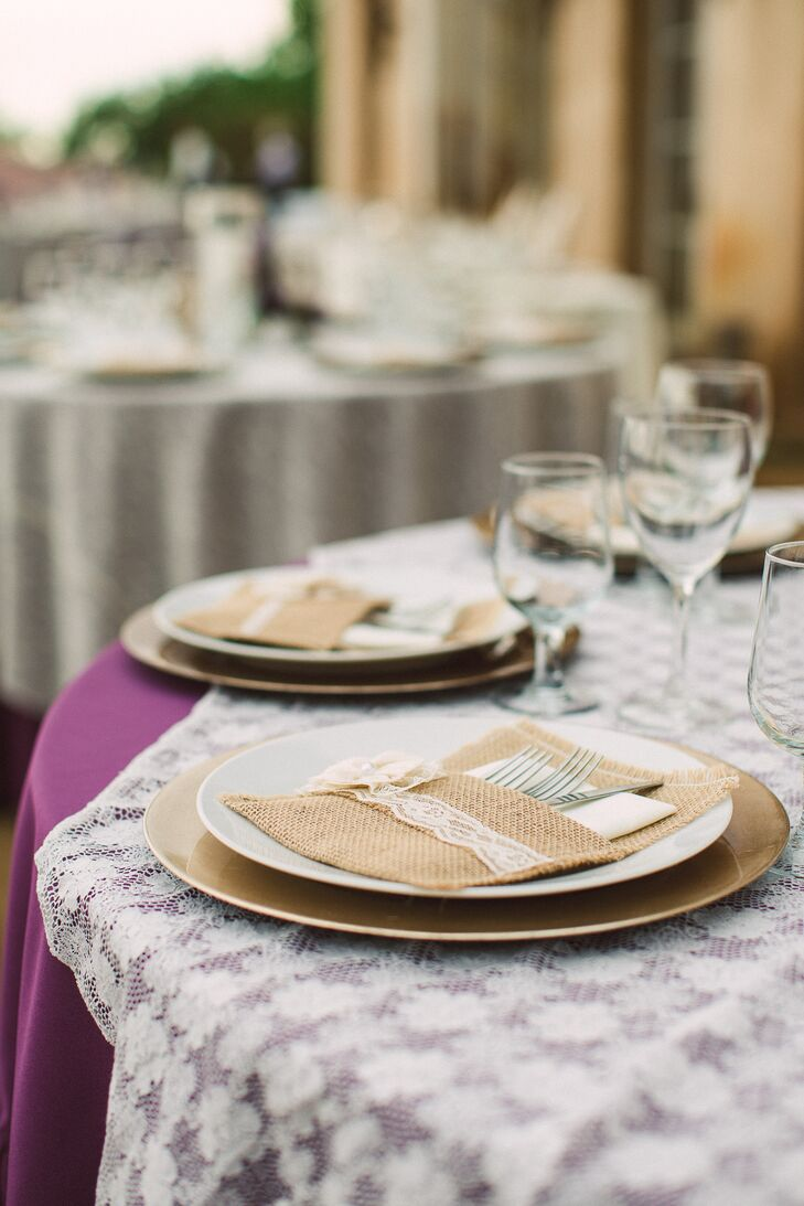 Purple Table Linens With Lace Overlay