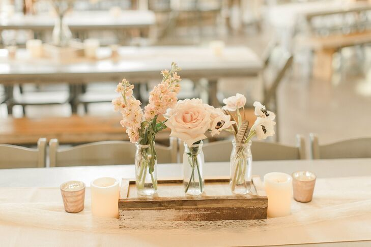 Simple Three Vase Centerpiece With Blush Flowers