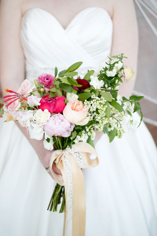 Lush Pink Peony and Ranunculus Wedding Bouquet