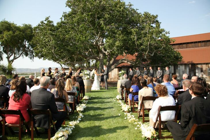 Ashleigh and Bill were married beneath a large, leafy tree at Greengate Ranch & Vineyard just outside of San Luis Obispo, California.