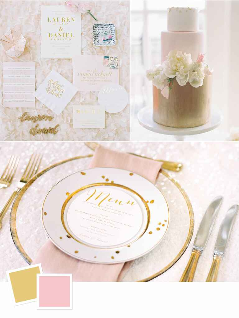 Blush and gold summer wedding color palette