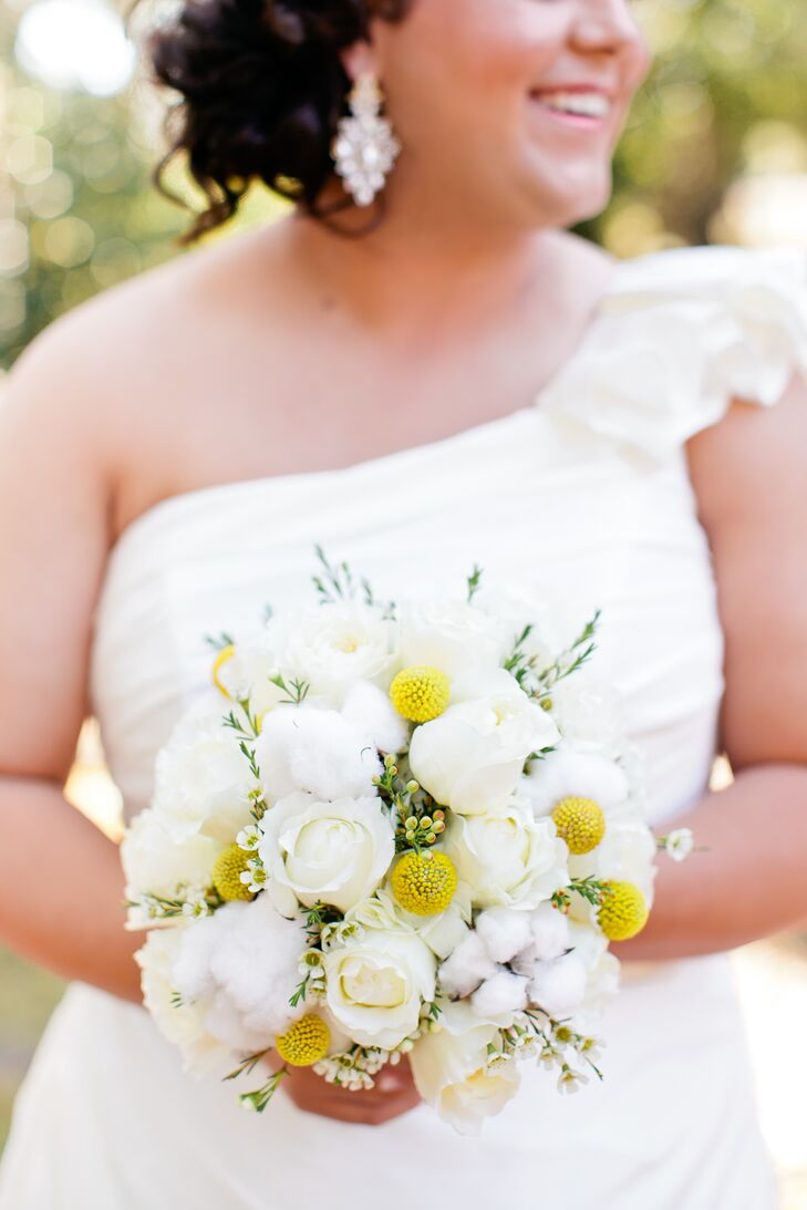 Cotton, Garden Rose and Craspedia Bridal Bouquet