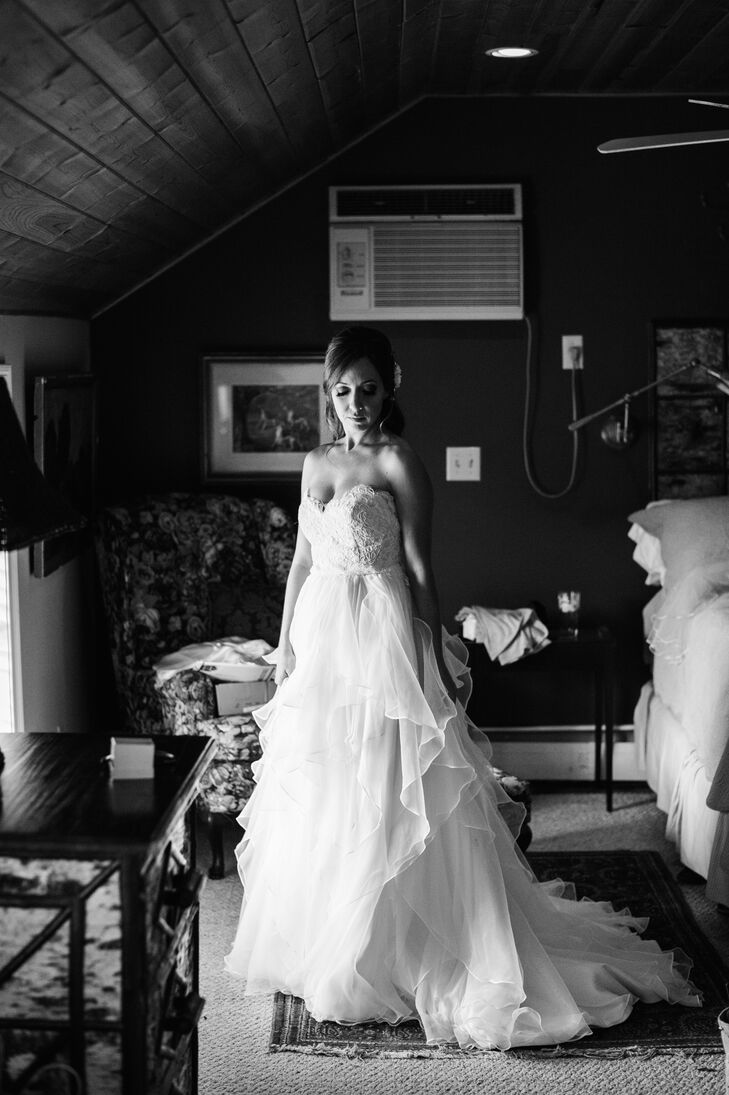 The Bride Getting Ready in a Strapless Hayley Paige Wedding Dress