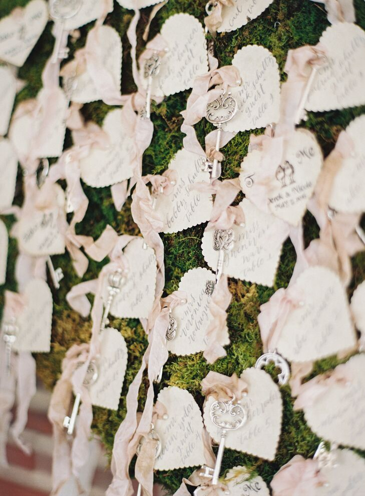 Escort cards were delicate scalloped hearts, with skeleton keys attached, hanging from a moss wall.