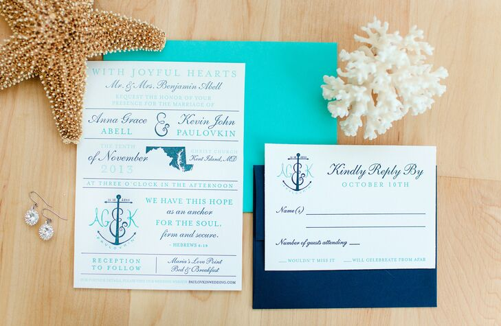 Wedding Invitations In Maryland: Blue Nautical Wedding At Maria's Love Point Bed
