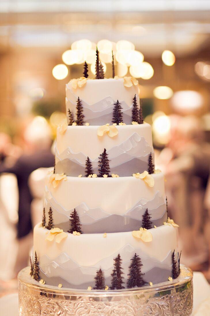 Colorado Mountain Themed Wedding Cake