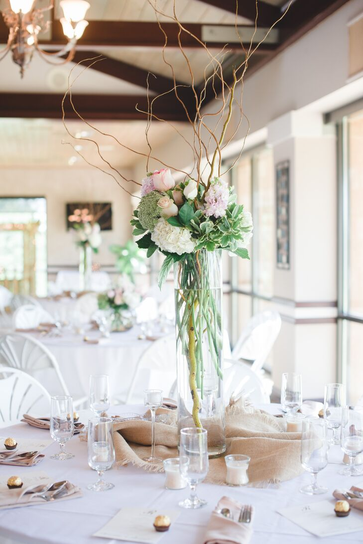 Tall Hydrangea and Curly Willow Centerpiece