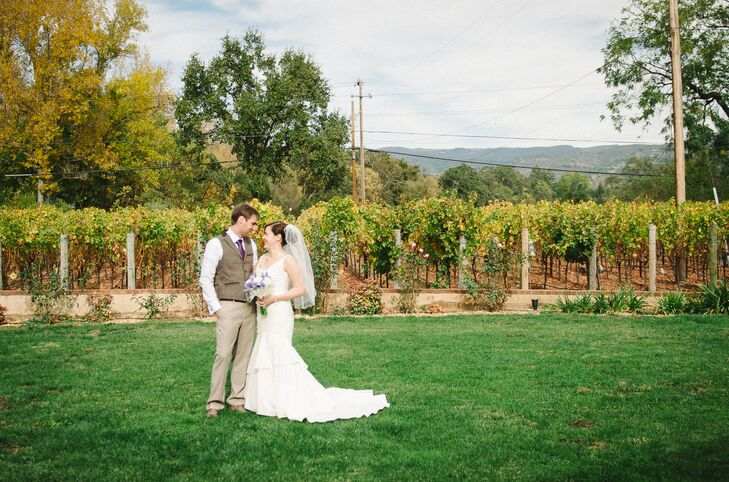 "The style of Tracey and Adam's wedding was casual with a stunning backdrop of the vineyard and trees. ""We mostly let nature be our decorations,"" says the bride."
