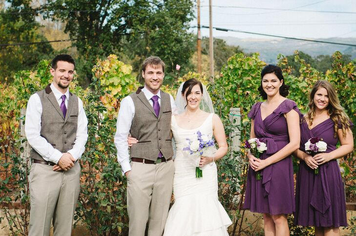 The bridesmaids chose their own purple dresses from David's Bridal. Adam and his Best Man wore slacks, a button down shirt, vest and tie to be casual and comfortable outdoors.