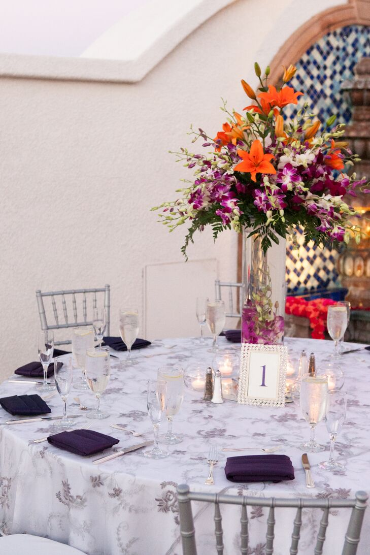 Orange And Purple Centerpieces Table Number