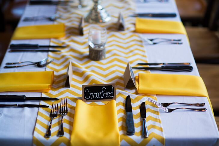 "The couple decorated their reception with canary yellow linen napkins and yellow and white chevron table runners. ""I feel like it really filled the space with color and fun,"" Jessica says."