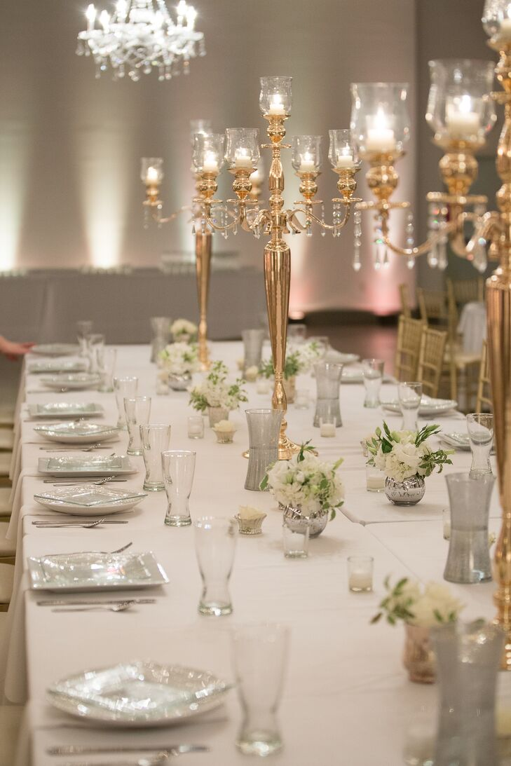 A classic elegant wedding at registry bistro in toledo ohio for Ornamental centrepiece for a dining table
