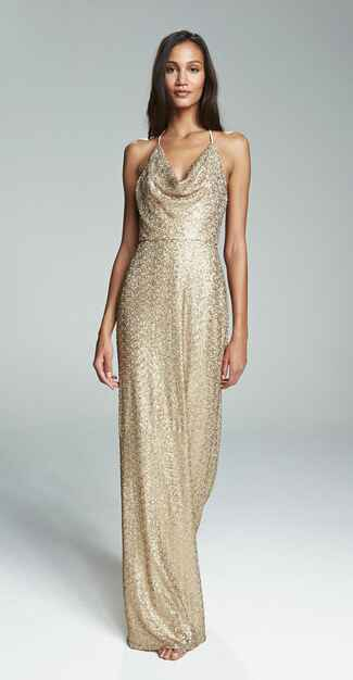 gold bridesmaid dress by Amsale