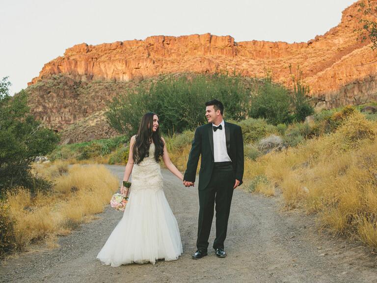 newlyweds standing outside in Idaho