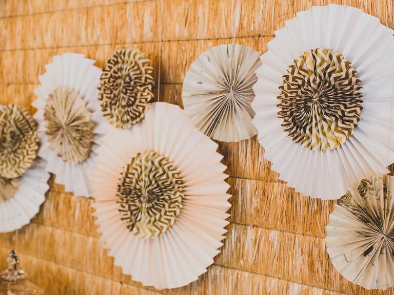White and gold paper rosettes