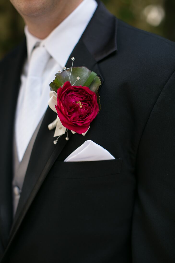 classic red garden rose boutonniere - Garden Rose Boutonniere