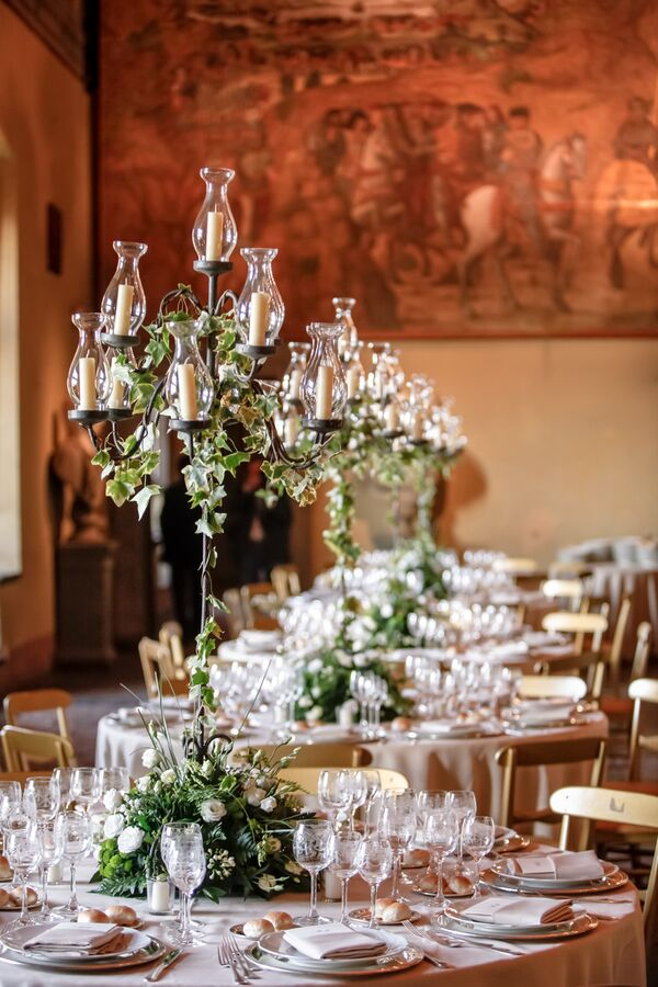 Candelabra Ceremony Aisle Decor With Flowers
