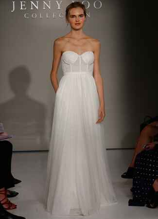 Jenny Yoo Fall 2016 strapless wedding dress with corset bodice and flowing skirt