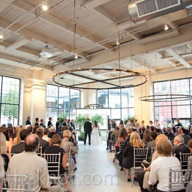 The couple loved the industrial-yet-elegant feel of the ballroom at Pêche at Sherman Mills.