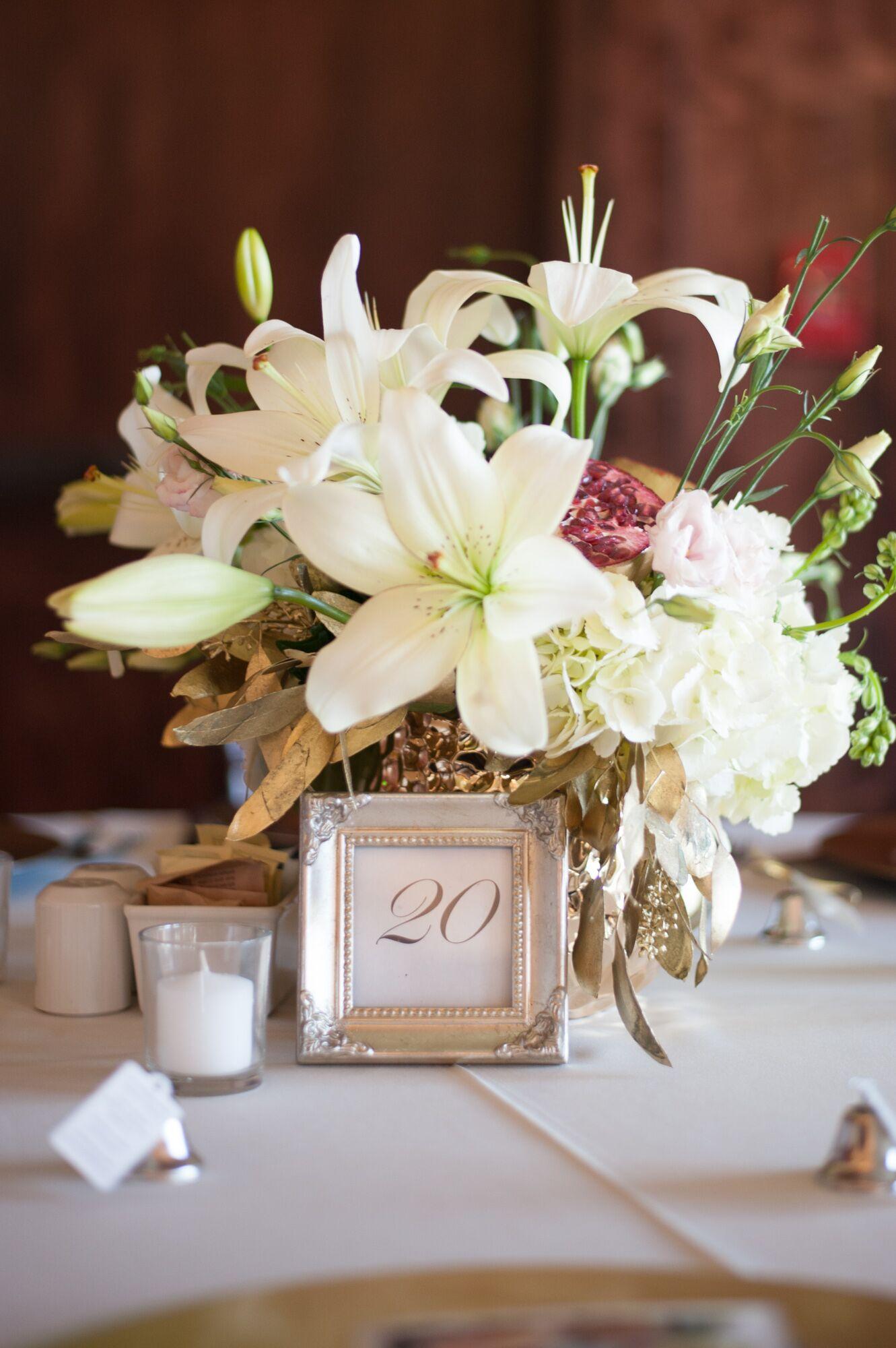 White lily hydrangea centerpieces