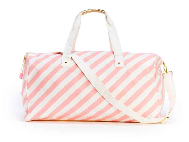 Pink and white stripe duffel bag