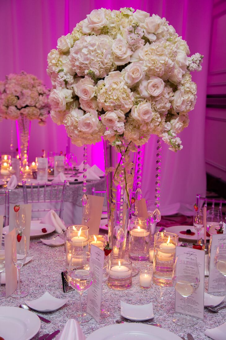 Grand White Hydrangea, Rose and Crystal Centerpieces