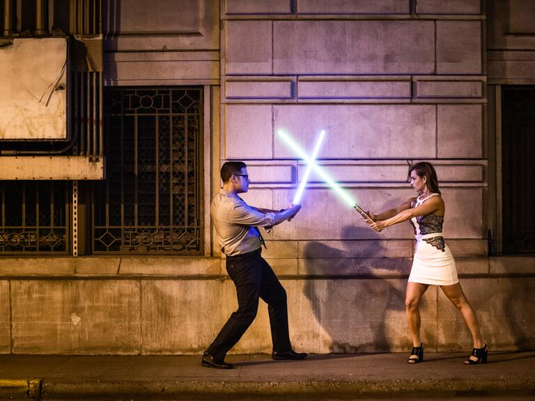 Star Wars Light saber Engagement Photo Session