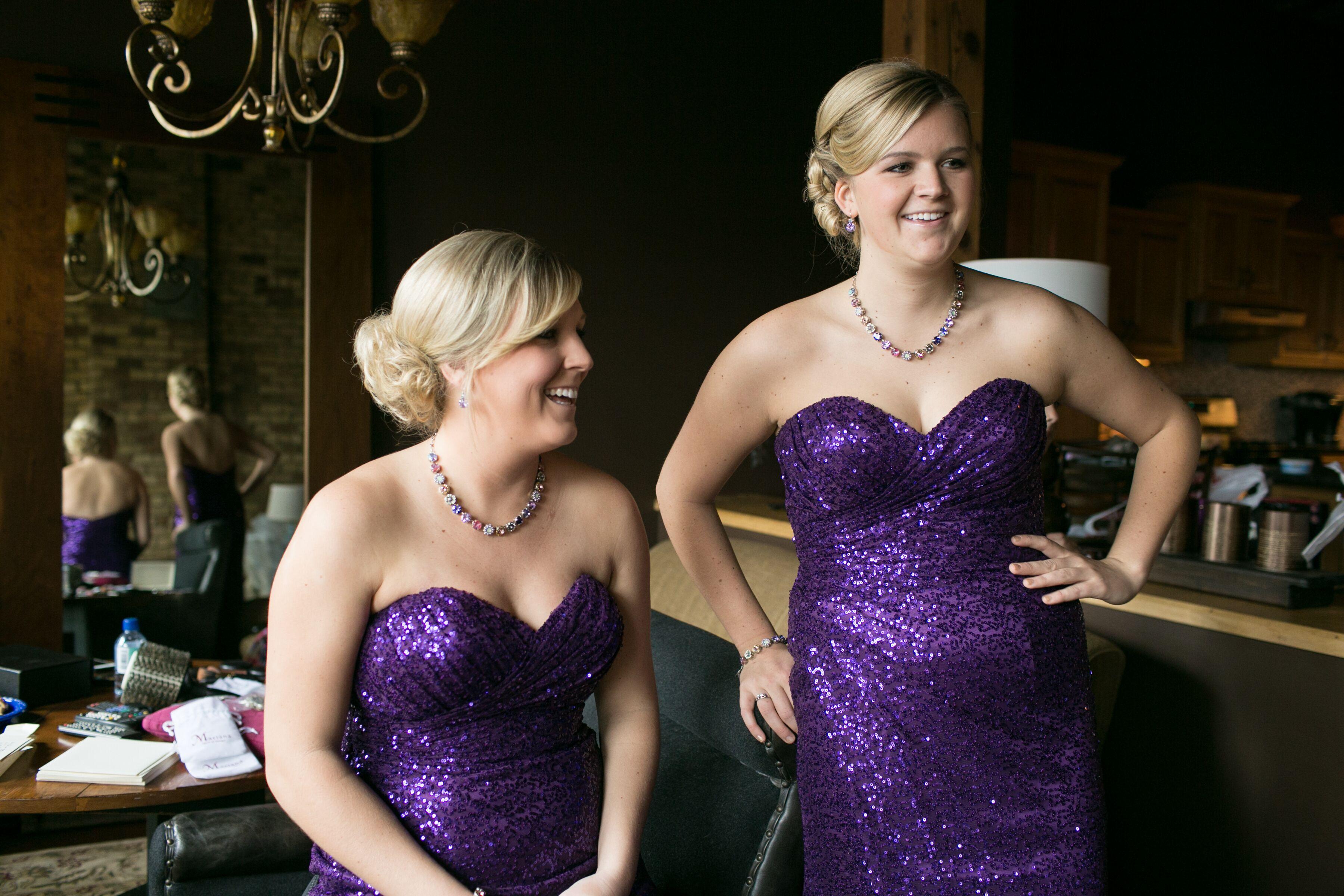 Purple Sequin Bridesmaid Dresses