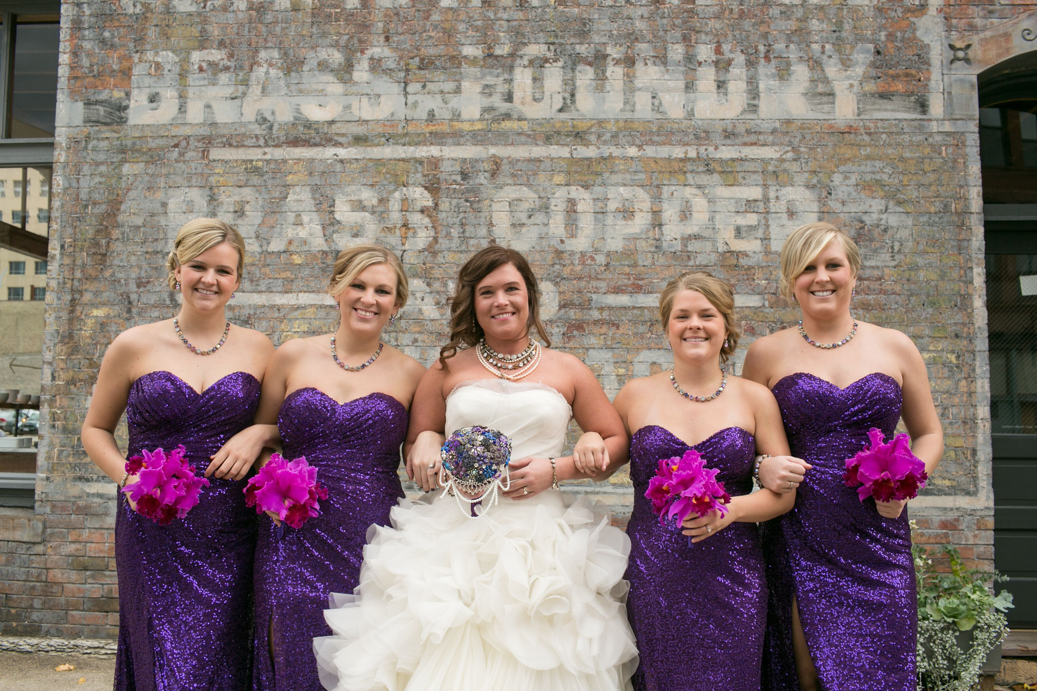 Alternative bridesmaid dresses purple sequin bridesmaid dresses with orchid bouquets ombrellifo Image collections