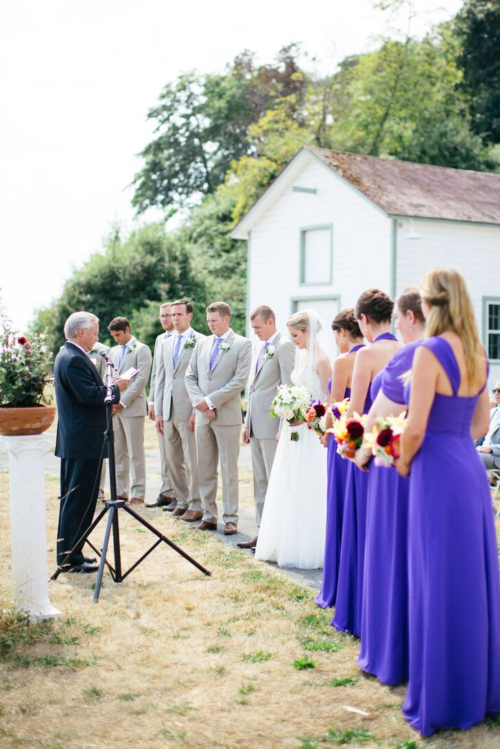Couple and Wedding Party with Officiant