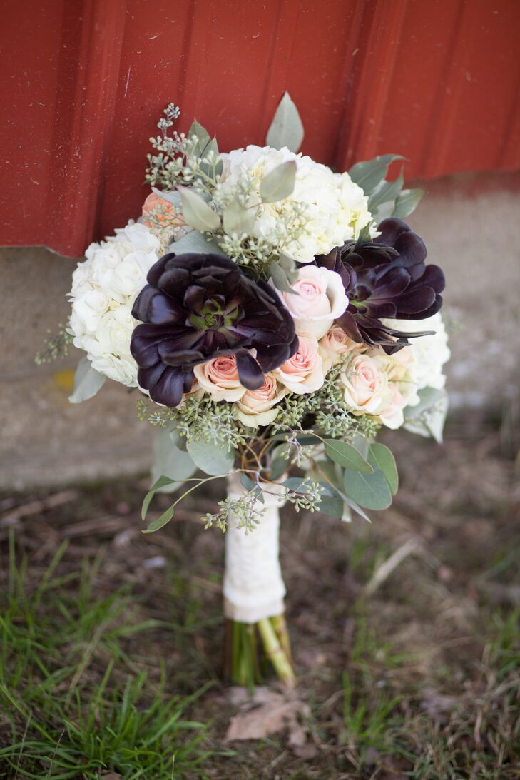 A Rustic Bridal Bouquet With Blush Roses White Hydrangeas