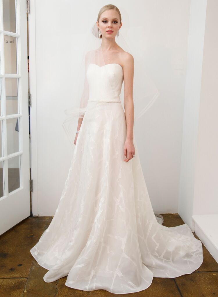 Pamella Roland A Line Wedding Dress With Geometric Skirt From Spring 2016