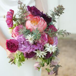 Bold Asymmetrical Textured Bouquet With Peonies And Garden Roses