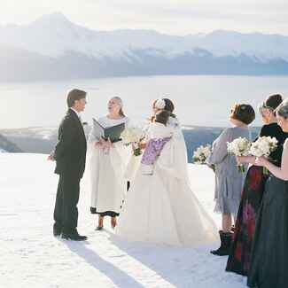 elopement on snowy mountain