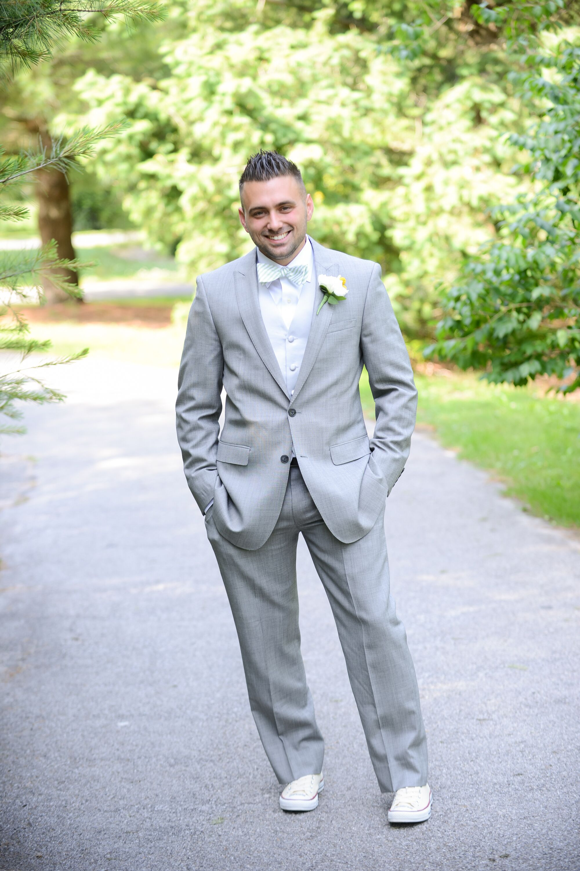 Classic Light Gray Suit With Mint Bow Tie