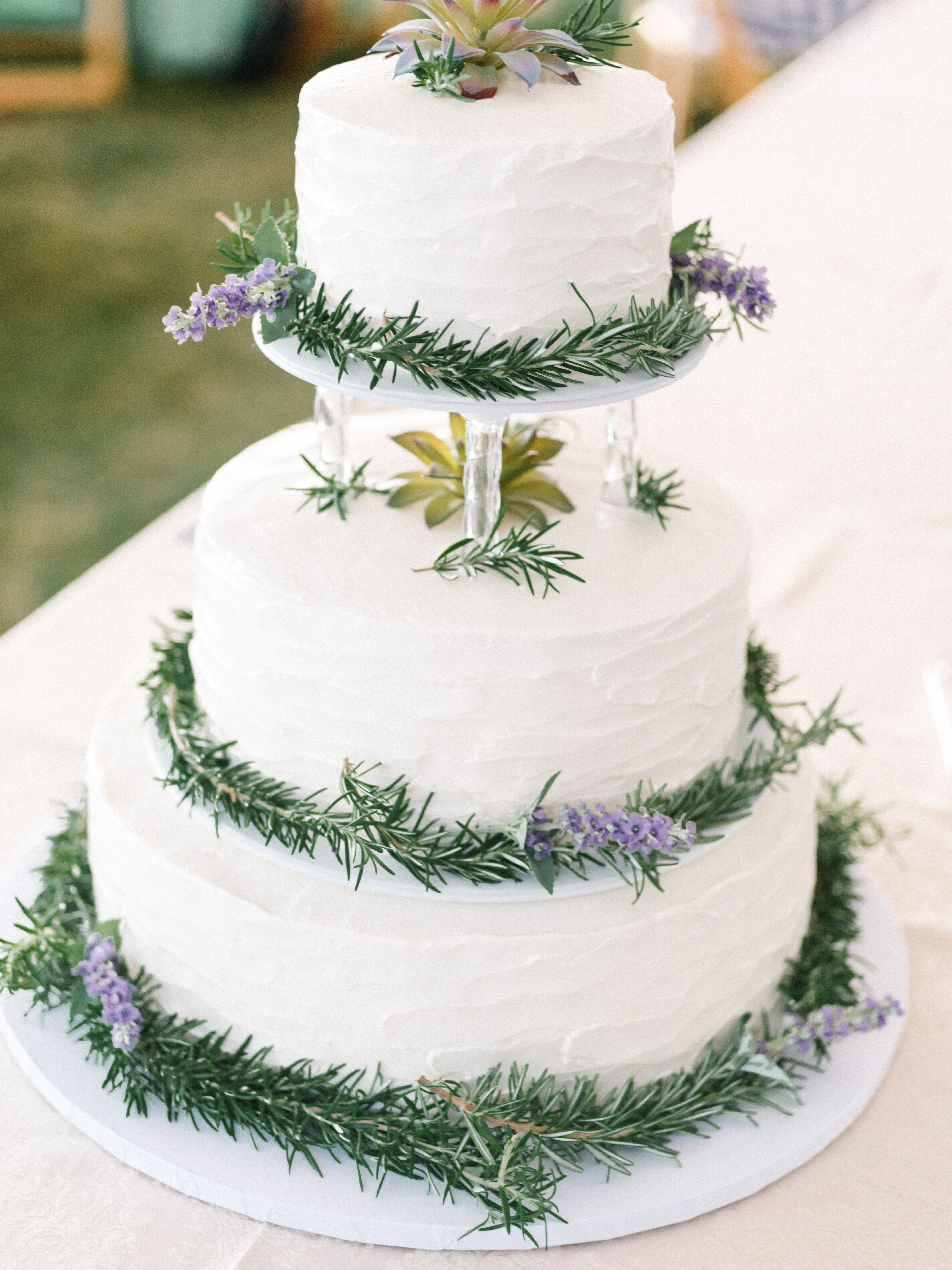 Rustic Buttercream Wedding Cake With Lavender And Rosemary Sprigs