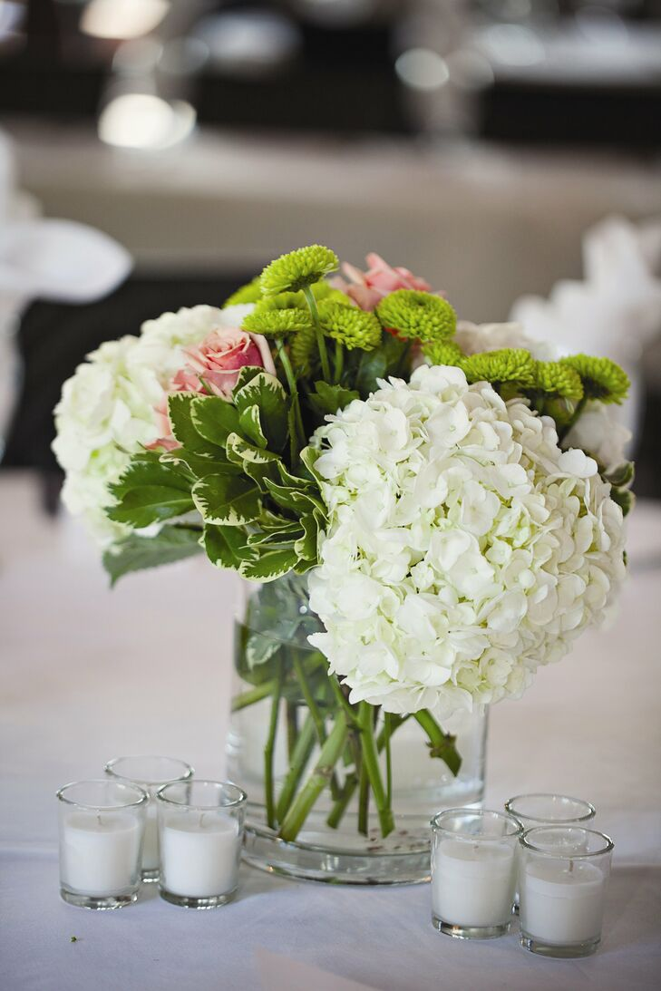 Hydrangea and candle centerpieces