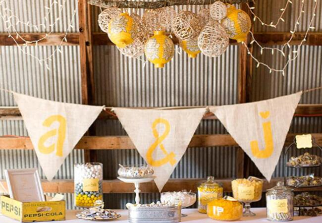 yellow monogrammed wedding candy bar