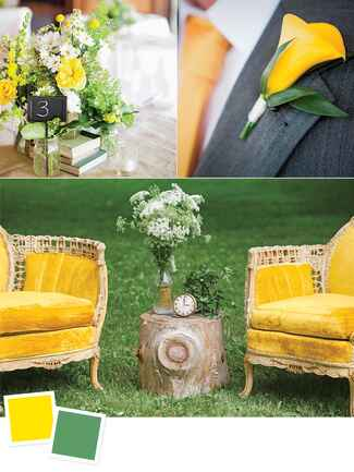 Canary and artichoke wedding colors