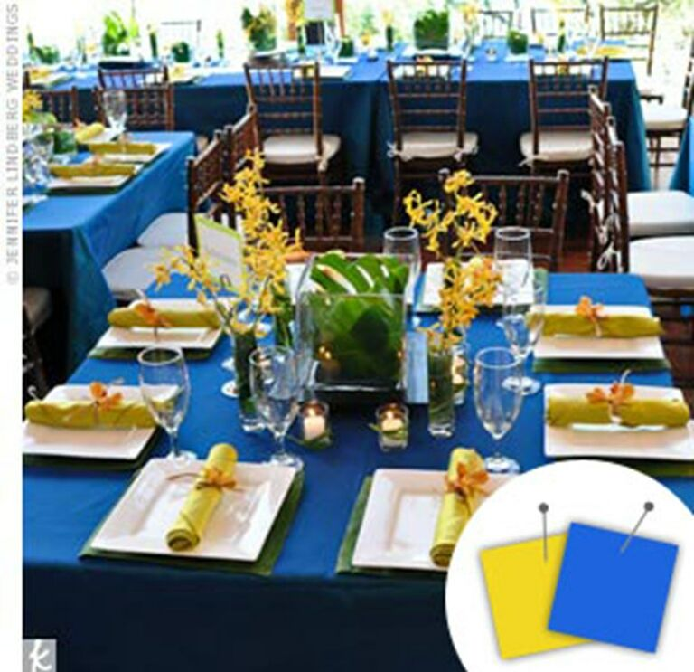Blue and yellow place setting